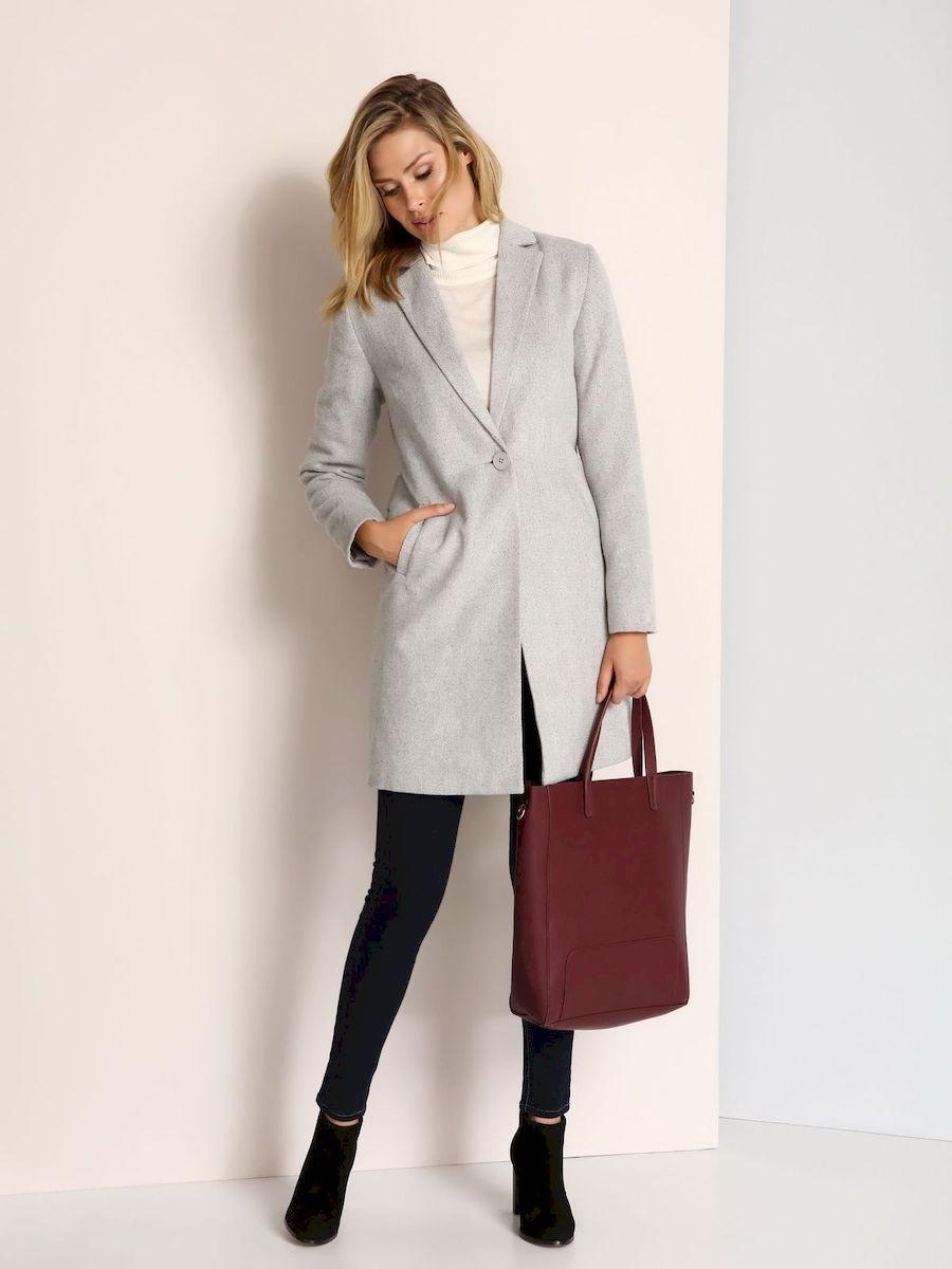 Пальто женское Top Secret, цвет: светло-серый. SPZ0357GB. Размер 42 (48)SPZ0357GBСтильное женское пальто Top Secret выполнено из полиэстера с добавлением шерсти. Пальто застегивается на пуговицу и дополнена поясом. По бокам изделие дополнено имитацией карманов.