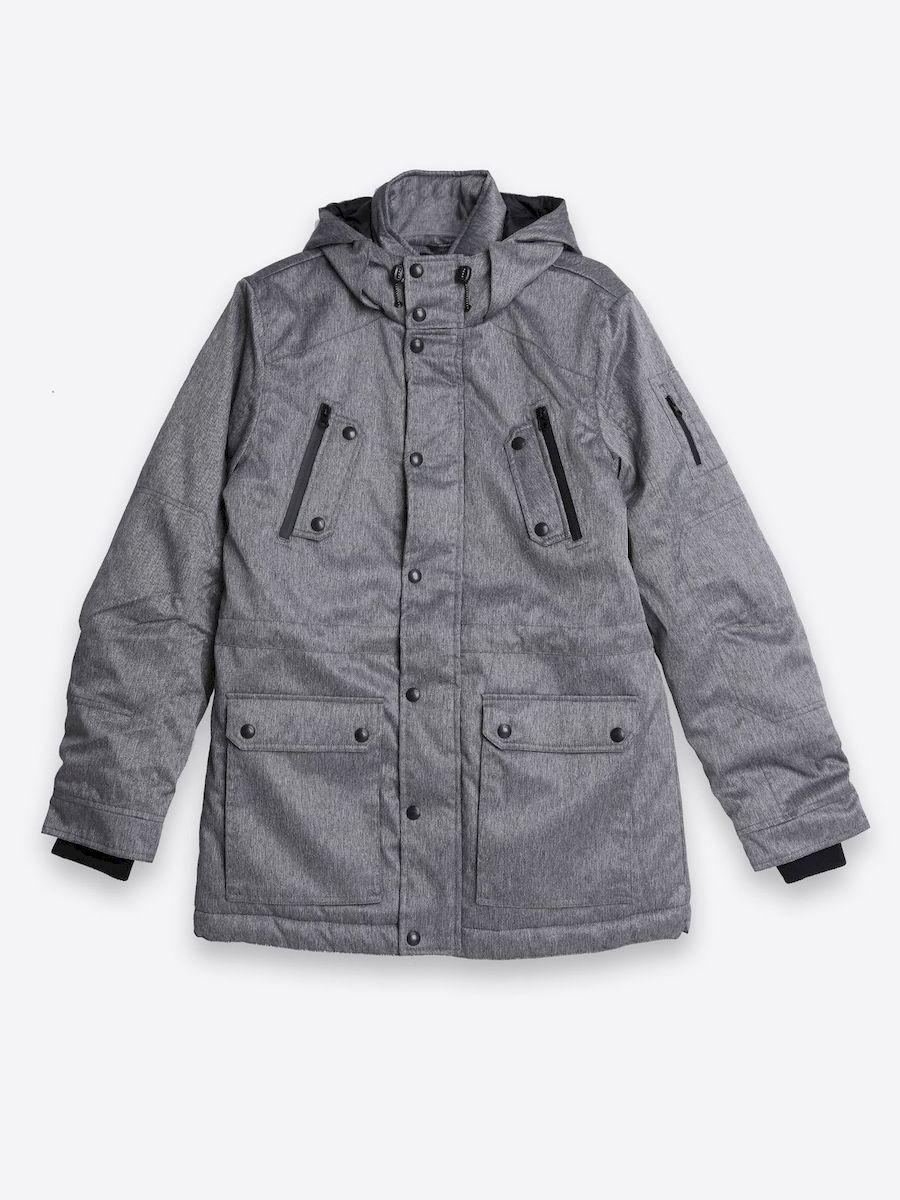 Куртка мужская Top Secret, цвет: серый. SKU0719SZ. Размер L (50)SKU0719SZСтильная мужская куртка Top Secret изготовлена из высококачественного полиэстера. В качестве утеплителя используется синтепон.Куртка с несъемным капюшоном застегивается на застежку-молнию и дополнительно на ветрозащитный клапан с кнопками. Капюшон, дополненный регулирующим эластичным шнурком. Спереди расположены два накладных кармана с клапанами на кнопках, на груди - два прорезных кармана на молнии, с внутренней стороны - прорезной карман на молнии и накладной открытый карман. Манжеты рукавов дополнены трикотажными манжетами. Низ и талия куртки регулируется при помощи эластичного шнурка со стопперами.