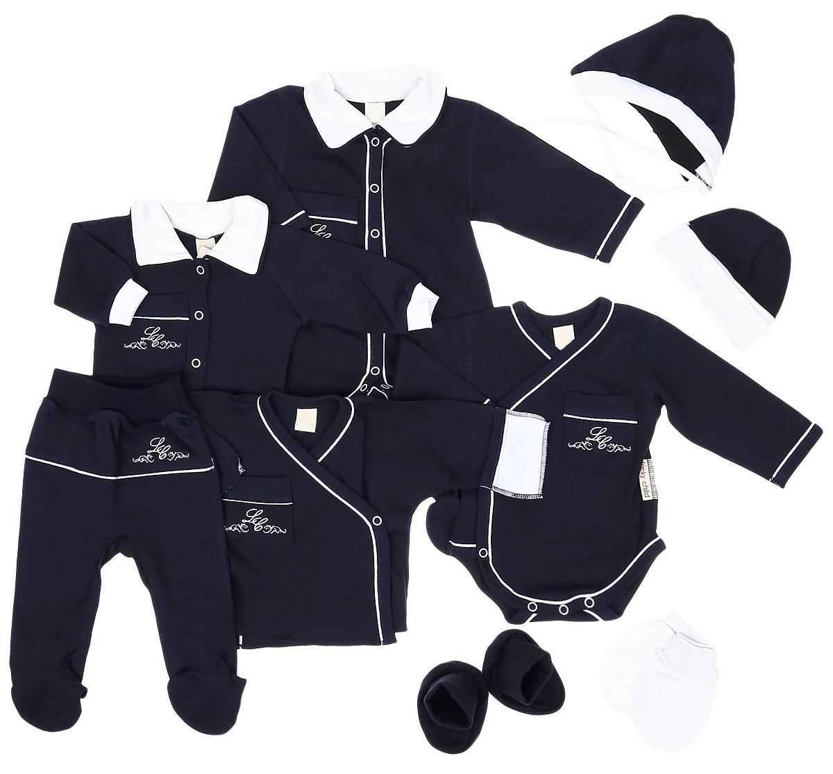Подарочный комплект для новорожденного Lucky Child Классик, 9 предметов, цвет: темно-синий. 20-1000. Размер 56/6220-1000Комплект для новорожденного Lucky Child Классик - это замечательный подарок, который прекрасно подойдет для первых дней жизни младенца. Комплект состоит из комбинезона, боди-кимоно, распашонки-кимоно, кофточки, ползунков, шапочки, чепчика, рукавичек и пинеток. Изготовленный из натурального хлопка, он необычайно мягкий и приятный на ощупь, не сковывает движения ребенка и позволяет коже дышать, не раздражает даже самую нежную и чувствительную кожу ребенка, обеспечивая ему наибольший комфорт.Комбинезон с длинными рукавами, отложным воротником контрастного цвета и закрытыми ножками имеет застежки-кнопки от горловины до пяточек, которые помогают легко переодеть младенца или сменить подгузник. На груди изделие дополнено накладным кармашком, украшенным вышивкой. Швы выполнены наружу.Удобное боди-кимоно с длинными рукавами и V-образным вырезом горловины имеет удобные застежки-кнопки по принципу кимоно, а также кнопки на ластовице, которые помогают легко переодеть младенца и сменить подгузник. На груди изделие дополнено накладным кармашком, украшенным вышивкой. Швы выполнены наружу. Распашонка-кимоно с V-образным вырезом горловины и длинными рукавами-кимоно имеет застежки-кнопки по принципу кимоно, благодаря которым, модель можно полностью расстегнуть. А благодаря рукавичкам ребенок не поцарапает себя. Ручки могут быть как открытыми, так и закрытыми. На груди изделие дополнено накладным кармашком, украшенным вышивкой. Швы выполнены наружу.Кофточка с длинными рукавами-реглан и отложным воротником контрастного цвета спереди застегивается на металлические кнопки, что помогает с легкостью переодеть ребенка. Рукава имеют широкие эластичные манжеты. На груди изделие дополнено накладным кармашком, украшенным вышивкой. Ползунки, благодаря мягкому и широкому поясу, не сдавливают животик младенца и не сползают. Они идеально подходят для ношения с подгузником. Такие п