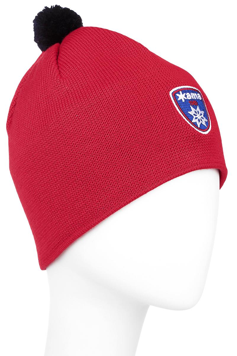 Шапка Kama Alpine Beanies, цвет: красный. A95_104. Размер универсальныйA95_104Стильная шапка Kama Alpine Beanies дополнит ваш наряд и не позволит вам замерзнуть в холодное время года. Шапка выполнена из шерсти и акрила, что позволяет ей великолепно сохранять тепло и обеспечивает высокую эластичность и удобство посадки. Оформлена модель нашивкой с названием бренда и маленьким помпоном на макушке. Такая шапка составит идеальный комплект с модной верхней одеждой