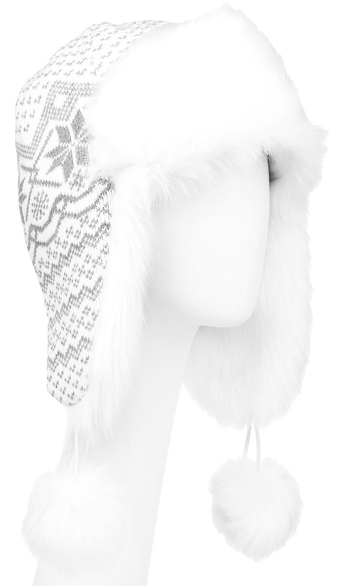 Шапка-ушанка женская Finn Flare, цвет: белый, серый. W16-12129_201. Размер 56W16-12129_201Шапка-ушанка Finn Flare выполнена из акрила с добавлением шерсти. Подкладка модели выполнена из мягкого и приятного на ощупь материала. Дополнена модель отделкой из искусственного меха. Декорирована шапка интересным узором и меховыми помпонами.Такой головной убор станет хорошим дополнением к вашему гардеробу. Уважаемые клиенты!Размер, доступный для заказа, является обхватом головы.