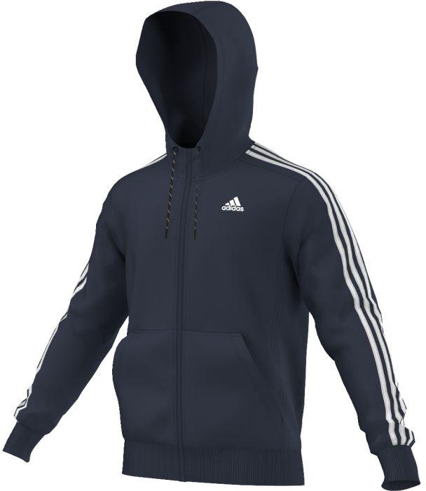 Толстовка мужская adidas Ess 3s fz hoodb, цвет: темно-синий. AK1730. Размер S (44/46)AK1730Комфортная мужская толстовка для тренировок сшита из отводящей влагу ткани climalite. Молния по всей длине и двуслойный капюшон. Карманы-кенгуру. Молния по всей длине, двухцветный шнурок капюшона, подкладка капюшона из основного материала, плоские швы. Логотип adidas в виде стикера. Особо мягкий, отводящий влагу флис.