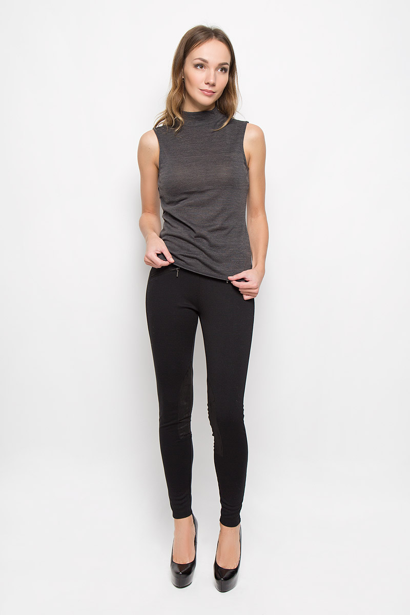 Брюки женские Broadway Cara, цвет: черный. 10156623. Размер XL (50)10156623_999Стильные женские брюки Broadway Cara стандартной посадки выполнены из эластичного высококачественного материала, что обеспечивает комфорт и удобство при носке. Изделие дополнено стильными вставками из полиэстера. Брюки имеют эластичную резинку в поясе, оформлены спереди двумя карманами-обманками на змейках.