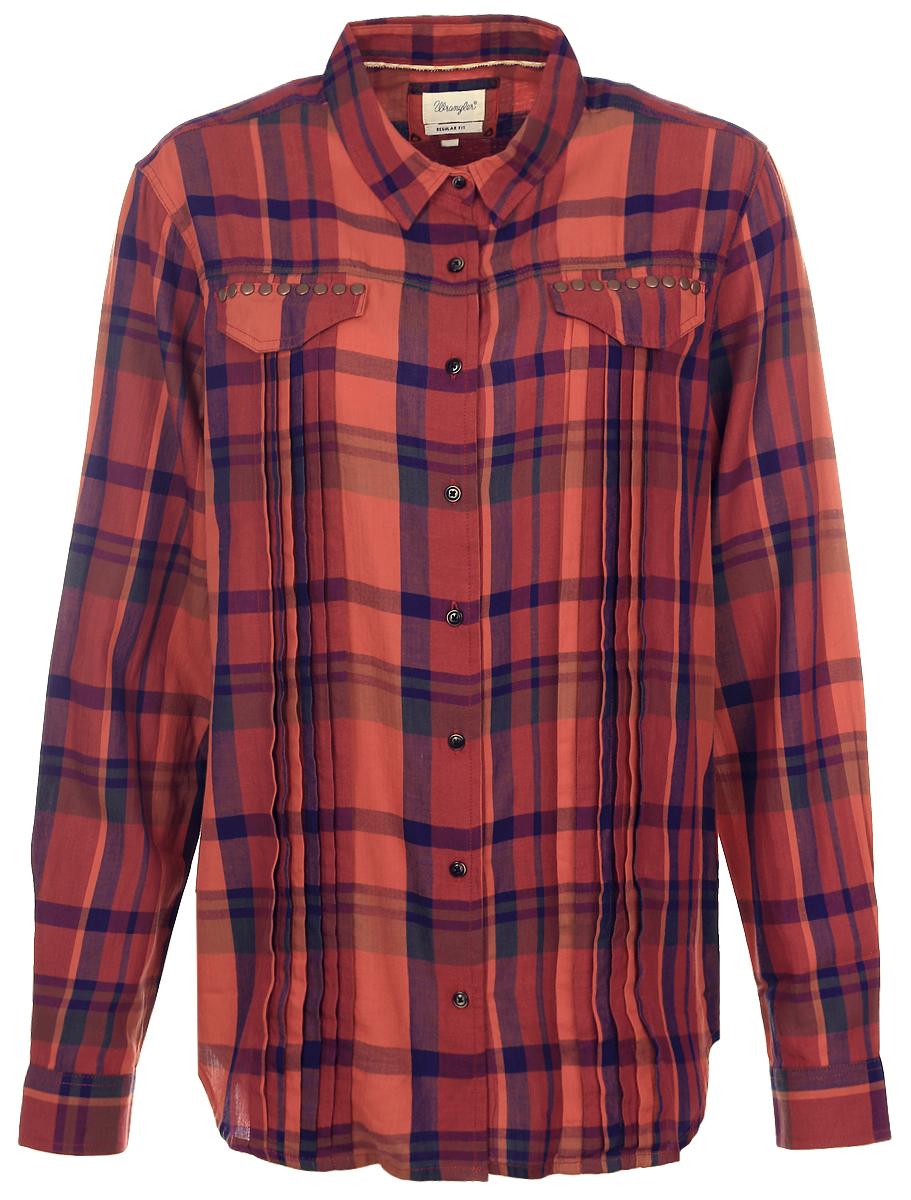 Рубашка женская Wrangler, цвет: бордовый, оранжевый. W5182BBMH. Размер M (46)W5182BBMHЖенская рубашка Wrangler, выполненная из высококачественного хлопка, идеально подойдет для повседневной носки.Модель с отложным воротником и длинными рукавами застегивается на пуговицы. Манжеты также имеют застежки-пуговицы. На груди расположены карманные клапаны, оформленные металлическими заклепками. Рубашка выполнена принтом в клетку. Такая Рубашка подчеркнет ваш вкус и поможет создать современный и стильный образ!
