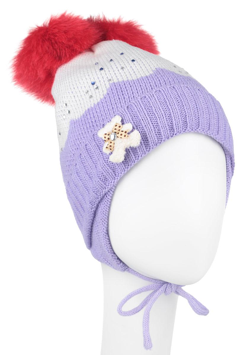 Шапка для девочки Nota Bene, цвет: белый, сиреневый, красный. AW150037. Размер S (48/50)AW150037-07Вязанная детская шапочка Nota Bene станет отличным дополнением к детскому гардеробу. Верх изделия изготовлен из высококачественного акрила с добавлением шерсти, это обеспечивает тепло икомфорт. Благодаря эластичной вязке, шапка идеально прилегает к голове ребенка.Шапка оформлена выкладкой из блестящих страз и небольшой аппликацией в виде мишки, макушка модели дополнена двумя пушистыми помпонами из искусственного меха. Изделие завязывается на шнурочки, пришитые сбоку к удлиненным ушкам, тем самым обеспечивает тепло в холодную погоду и защищает детские ушки от холода. Дополнена шапочка нашивкой с названием бренда. Оригинальный дизайн и расцветка делают эту шапку стильным предметом детского гардероба. В ней ребенку будет тепло, уютно и комфортно. Уважаемые клиенты!Размер, доступный для заказа, является обхватом головы.