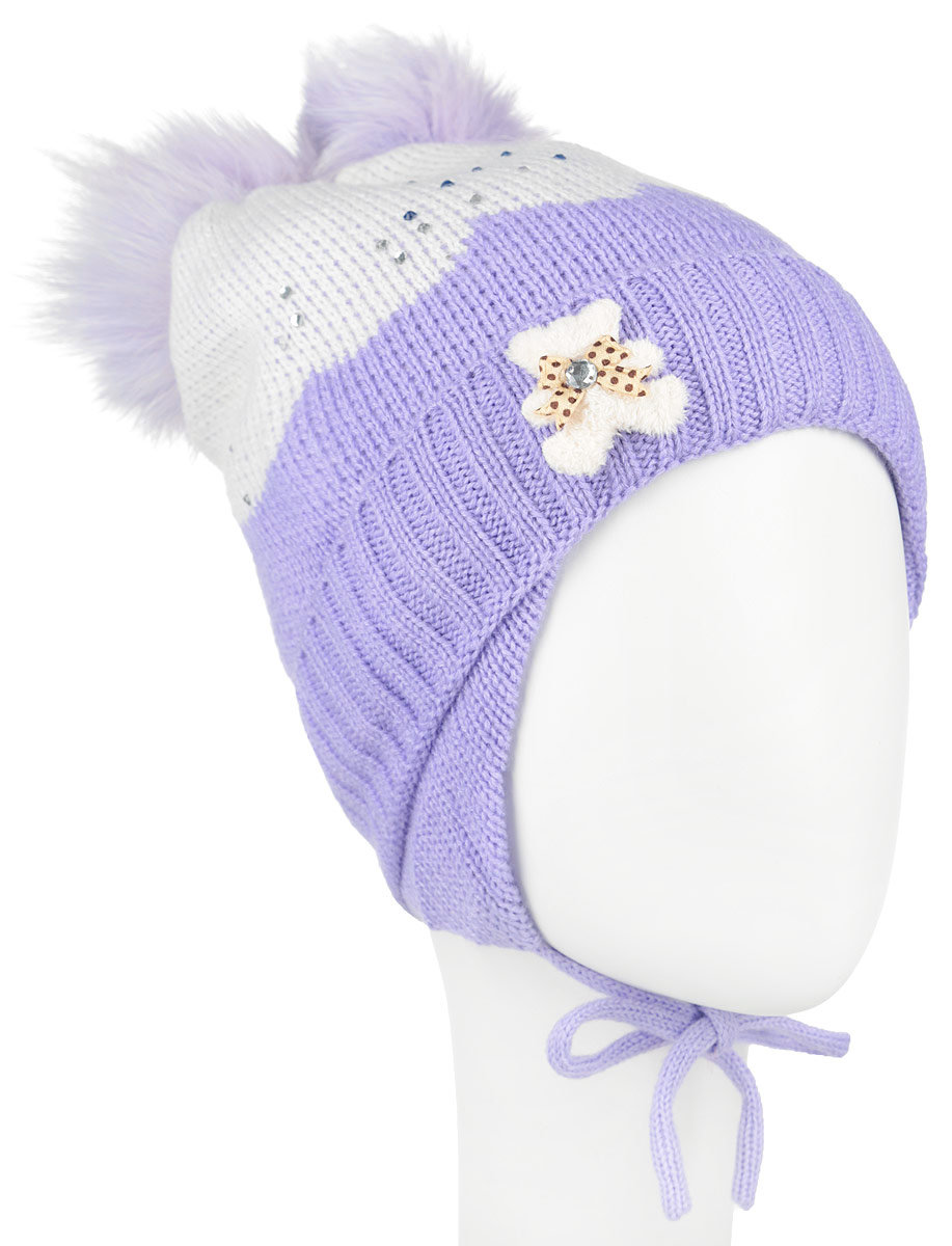 Шапка для девочки Nota Bene, цвет: сиреневый, белый. AW1500353. Размер S (48/50)AW1500353-53Вязанная детская шапочка Nota Bene станет отличным дополнением к детскому гардеробу. Верх изделия изготовлен из высококачественного акрила с добавлением шерсти, это обеспечивает тепло икомфорт. Благодаря эластичной вязке, шапка идеально прилегает к голове ребенка.Шапка оформлена выкладкой из блестящих страз и небольшой аппликацией в виде мишки, макушка модели дополнена двумя пушистыми помпонами из искусственного меха. Изделие завязывается на шнурочки, пришитые сбоку к удлиненным ушкам, тем самым обеспечивает тепло в холодную погоду и защищает детские ушки от холода. Дополнена шапочка нашивкой с названием бренда. Оригинальный дизайн и расцветка делают эту шапку стильным предметом детского гардероба. В ней ребенку будет тепло, уютно и комфортно. Уважаемые клиенты!Размер, доступный для заказа, является обхватом головы.