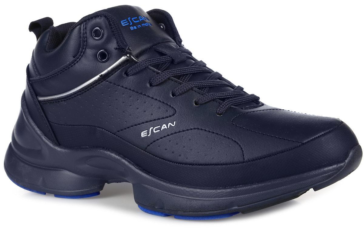 Кроссовки мужские Escan, цвет: темно-синий. ES830022. Размер 42ES830022-3Стильные мужские кроссовки от Escan заинтересуют вас своим дизайном с первого взгляда! Модель выполнена из искусственной кожи. Подкладка и стелька из искусственного меха не дадут ногам замерзнуть. Классическая шнуровка надежно зафиксирует модель на ноге. Подошва с рифлением обеспечивает отличное сцепление с любой поверхностью.