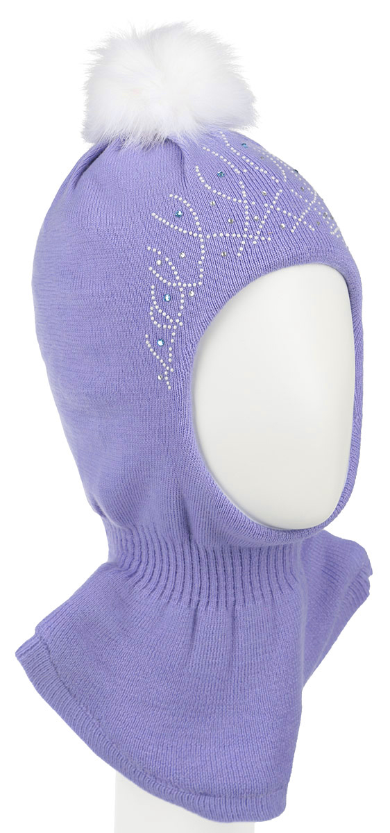 Шапка-шлем для девочки Nota Bene, цвет: сиреневый, белый. AW15013. Размер S (48/50)AW15013-53Комфортная детская шапка-шлем Nota Bene идеально подойдет для прогулок в холодное время года. По своей конструкции шлем облегает головку ребенка, надежно защищая ушки, лобик и щечки от продуваний. Шапочка, выполненная из шерстяной пряжи, максимально сохраняет тепло, она мягкая и идеально прилегает к голове. Шерсть хорошо тянется и устойчива к сминанию. Мягкая подкладка выполнена из натурального хлопка, поэтому шапка хорошо сохраняет тепло. Шапка оформлена интересным принтом и украшена стразами, на макушке дополнена помпоном. Удобная шапка-шлем станет модным и стильным дополнением гардероба вашего ребенка, надежно защитит его от холода и ветра, и поднимет ему настроение даже в пасмурные дни!Уважаемые клиенты!Размер, доступный для заказа, является обхватом головы.