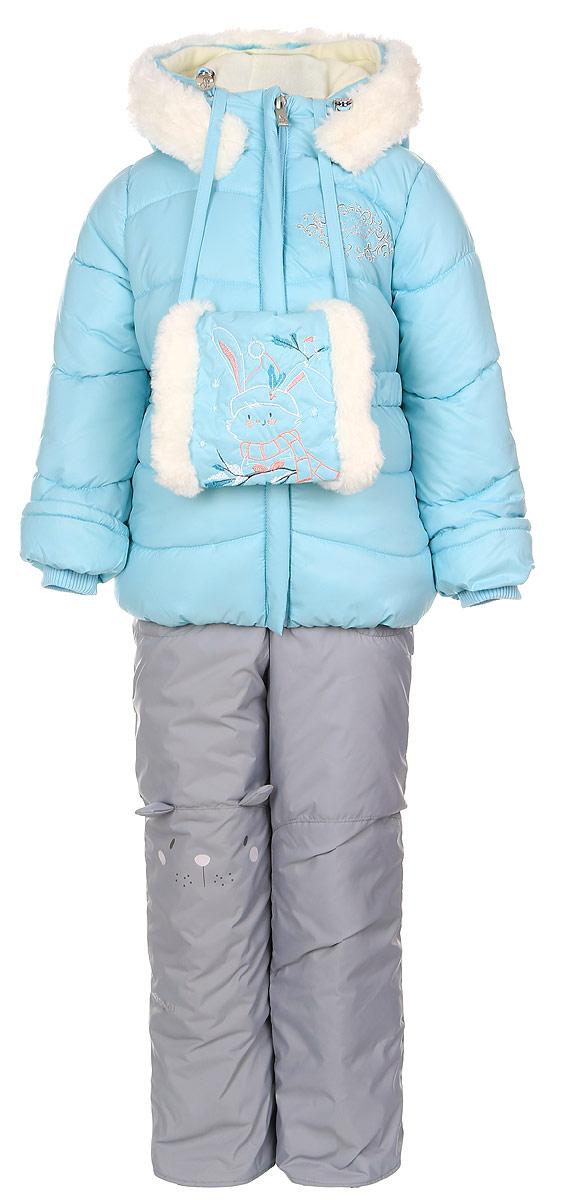 Комплект для девочки Boom!: куртка, полукомбинезон, муфта, цвет: бирюзовый, серый. 64343_BOG_вар.1. Размер 80, 1,5-2 года64343_BOG_вар.1Теплый комплект для девочки Boom! идеально подойдет вашей дочурке в холодное время года. Комплект состоит из куртки, полукомбинезона и муфты, изготовленных из водоотталкивающей ткани с утеплителем из синтепона. Куртка на мягкой флисовой подкладке застегивается на пластиковую застежку-молнию и дополнительно имеет внутренний ветрозащитный клапан, и защиту подбородка. Курточка дополнена несъемным капюшоном с ушками, декорированным меховой опушкой на молнии. Дополнен капюшон скрытой резинкой со стопперами. Низ рукавов дополнен внутренними трикотажными манжетами, которые мягко обхватывают запястья. На талии расположены шлевки для ремня. В комплект входит эластичный поясок. Оформлена модельвышивкой с названием бренда. Муфта на флисовой подкладке оформлена меховой отделкой и вышивкой в виде зайчика. Полукомбинезон с грудкой застегивается на пластиковую застежку-молнию и имеет наплечные эластичные лямки, регулируемые по длине. Лямки пристегиваются при помощи липучек. На талии предусмотрена вшитая широкая эластичная резинка, которая позволяет надежно заправить рубашку, водолазку или свитер. По бокам предусмотрены два прорезных кармана. Снизу брючин дополнены внутренними манжетами с прорезиненными полосками, препятствующими попадаю снега в обувь и не дающими брючинам ползти вверх, а также предусмотрены отвороты, чтобы модель могла расти вместе с ребенком. Правая брючина декорирована мордочкой с ушками. Светоотражающие вставки не оставят вашего ребенка незамеченным в темное время суток. Комфортный, удобный и практичный комплект идеально подойдет для прогулок и игр на свежем воздухе!
