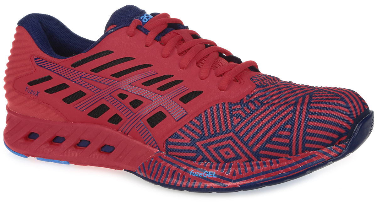 Кроссовки для бега мужские Asics Fuzex, цвет: красный, темно-синий. T6K3N-2349. Размер 9 (41)T6K3N-2349В кроссовках Fuzex от Asics сочетаются малый вес с защитой и амортизацией. Модель выполнена из текстиля и дополнена накладками из ПВХ. Внутренняя поверхность из текстиля не натирает. Стелька из материала ЭВА с текстильной поверхностью комфортна при движении. Классическая шнуровка надежно зафиксирует изделие на ноге. Промежуточная подошва fuzeGEL равномерно распределяет вес и позволяет преодолевать и длинные дистанции. Благодаря опущенной на 8 мм пятке вы сможете прочувствовать рельеф поверхности. Уплотненный задник и боковые накладки обеспечивают поддержку стопы. Рифление на подошве обеспечивает отличное сцепление с любой поверхностью.