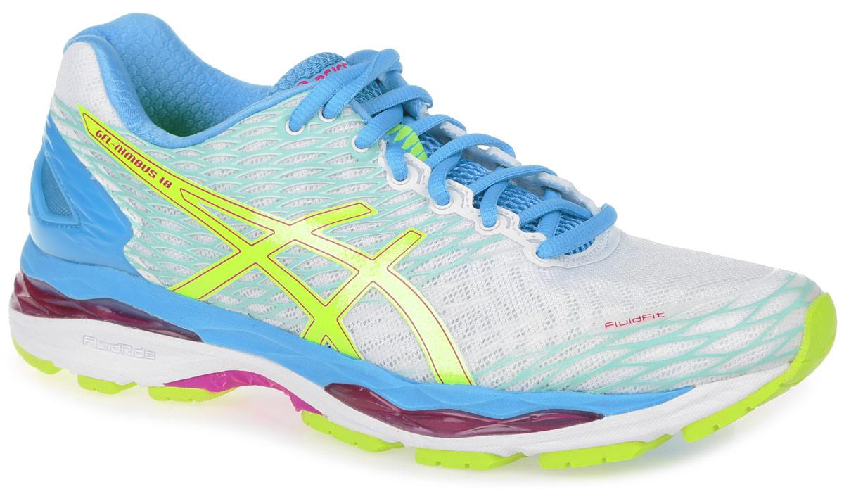 Кроссовки для бега женские Asics Gel-Nimbus 18, цвет: белый, голубой. T650N-0107. Размер 9 (39)T650N-0107Стильные женские кроссовки Gel-Nimbus 18 от Asics идеальная обувь для бега на длинные и короткие дистанции. Верх модели выполнен из сетчатого текстиля и дополнен бесшовными накладками. Внутренняя поверхность из текстиля не натирает. Стелька из материала ЭВА с текстильной поверхностью комфортна при движении. Классическая шнуровка надежно зафиксирует изделие на ноге. Вставка из полимера в пяточной части гарантирует поддержку и фиксацию стопы. Упругая средняя подошва FluidRide обеспечивает дополнительную амортизацию. Пластиковый литой элемент Trusstic в средней части подошвы препятствует скручиванию стопы. Вставки в промежуточной подошве из термостойкого геля на силиконовой основе значительно уменьшают нагрузку на пятку, колени и позвоночник спортсмена, снижая возможность получения травмы. Технология FluidFit - обеспечивает идеальную посадку кроссовка на стопе и приятный бег в любых условиях.Рифление на подошве обеспечивает отличное сцепление с любой поверхностью.