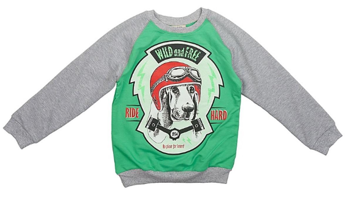 Свитшот для мальчика M&D, цвет: салатовый, серый меланж. D202MS. Размер 116D202MS-14Свитшот для мальчика M&D с длинными рукавами-реглан и круглым вырезом горловины выполнен из полиэстера с добавлением хлопка . Изделие украшено крупным принтом с изображением собаки в шлеме с очками и дополнено надписью Wild and Free. Ride Hard..