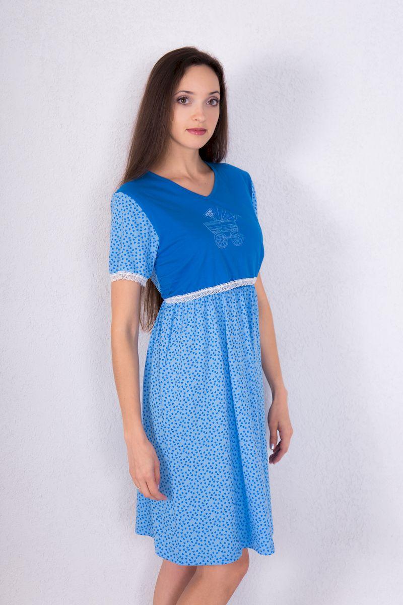 Платье домашнее для кормящих Violett, цвет: голубой, синий. 7117111307. Размер L (48)7117111307Домашнее платье для кормящих Violett изготовлено из натурального хлопка. Приталенная модель с V-образным вырезом горловины и короткими рукавами имеет дополнительный верхний топ, который позволяет незаметно покормить малыша грудью. Топ оформлен принтом в виде детской коляски. Нижний топ выполнен внахлест. Низ рукавов и нижняя часть верхнего топа декорированы эластичной оборкой. По линии талии проходит резинка, от которой спереди заложены складки.Оформлено изделие мелким принтом в виде сердечка.