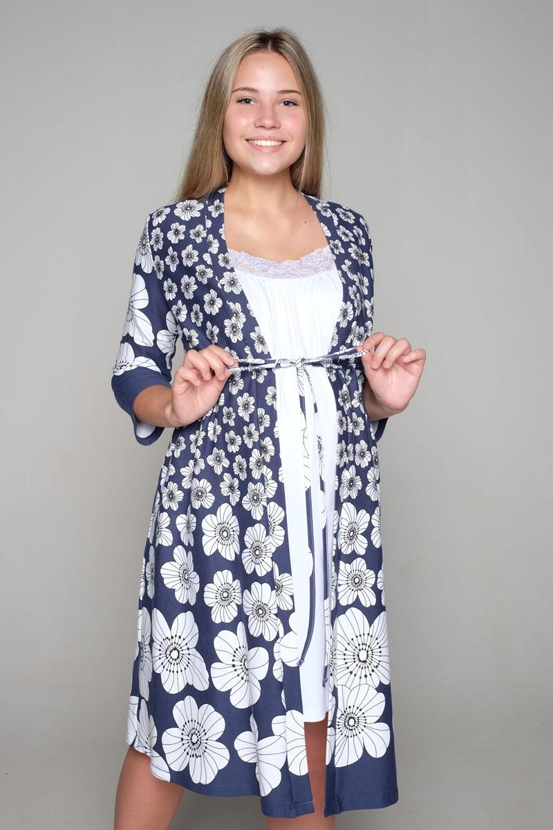 Комплект для беременных и кормящих Hunny Mammy: халат, сорочка ночная, цвет: синий, белый. 1-НМК 07944. Размер 501-НМК 07944Легкий комплект, состоящий из халата-пеньюара и сорочки на бретелях с клипсой для кормления, выполнен из высококачественного хлопкового материала.