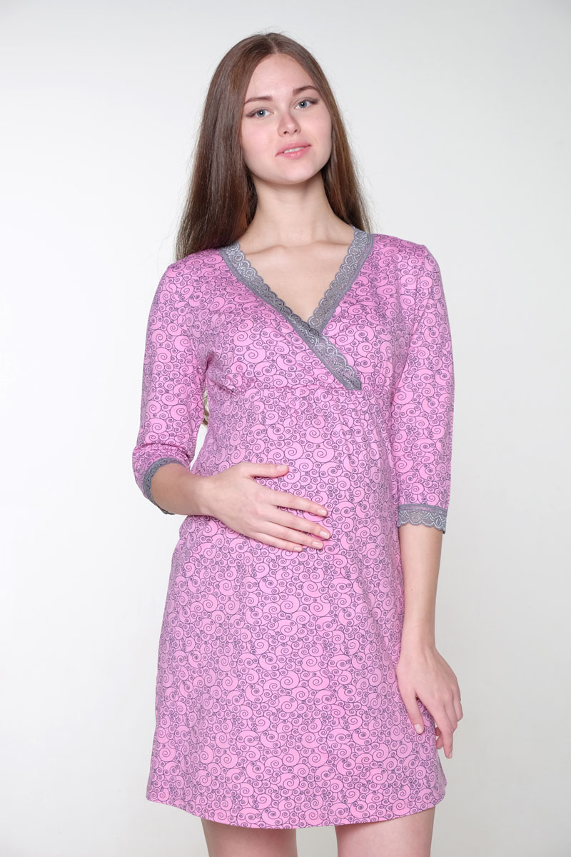 Сорочка для беременных и кормящих Hunny Mammy, цвет: розовый, серый. 2-НМП 19402. Размер 482-НМП 19402Нежная ночная сорочка для беременных и кормящих выполнена из хлопкового трикотажного полотна, полуприлегающий силуэт, рукав 3/4. Удобный крой для кормления.