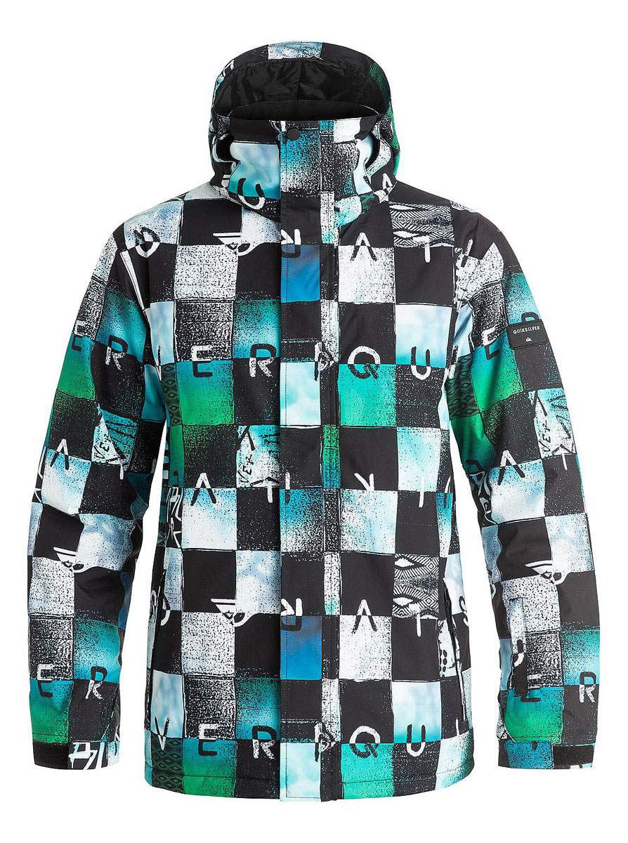 Куртка мужская Quiksilver, цвет: зеленый, черный. EQYTJ03069-BGZ9. Размер XL (56)EQYTJ03069-BGZ9Мужская куртка Quiksilver выполнена из 100% полиэстера. Модель с капюшоном и длинными рукавами застегивается на застежку-молнию и липучки. Капюшон пристегивается при помощи кнопок и дополнен шнурком-кулиской. Низ рукавов дополнен хлястиками на липучках и трикотажными манжетами. Спереди расположено два прорезных кармана, а на левом рукаве - карман на молнии. Внутри один накладной, сетчатый карман на липучке. Низ куртки регулируется при помощи эластичного шнурка с стопперами. Изделие оформлено оригинальным принтом.
