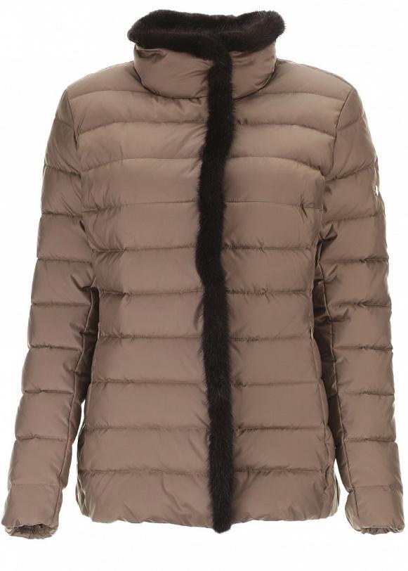 Куртка женская Baon, цвет: коричневый. B026613. Размер 58B026613_DARK CHOCOLATEСтильная женская куртка Baon, выполнена из 100% полиэстера. Наполнитель натуральный пух. Изделие с воротником-стойкой и длинными рукавамизастегивается на пластиковую застежку-молнию по всей длине и дополнительно имеет ветрозащитный клапан на кнопках. Спереди модель дополнена двумя прорезными карманами на застежке-молнии. Модель оформлена отделкой из натурального меха.