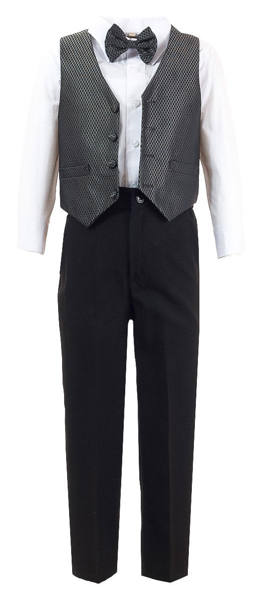 Костюм для мальчика M&D, цвет: темно-серый, черный, белый. HW14195-51. Размер 92HW14195-51Костюм для мальчика M&D изготовлен из полиэстера с добавлением хлопка. Костюм включает в себя рубашку, брюки, жилет и галстук-бабочку. Рубашка с отложным воротником и длинными рукавами застегивается на пуговицы. Манжеты рукавов оснащены застежками-пуговицами. На груди расположен накладной карман. Брюки классического кроя и стандартной посадки застегиваются на пуговицу в поясе и ширинку на застежке-молнии. На поясе имеются шлевки для ремня. Пояс по бокам присборен на резинки. Брюки дополнены втачными карманами. Жилет с V-образным вырезом горловины застегивается на пуговицы. Спереди расположены два прорезных кармана. Галстук-бабочка оснащен эластичной резинкой. Жилет и галстук-бабочка оформлены оригинальным принтом.