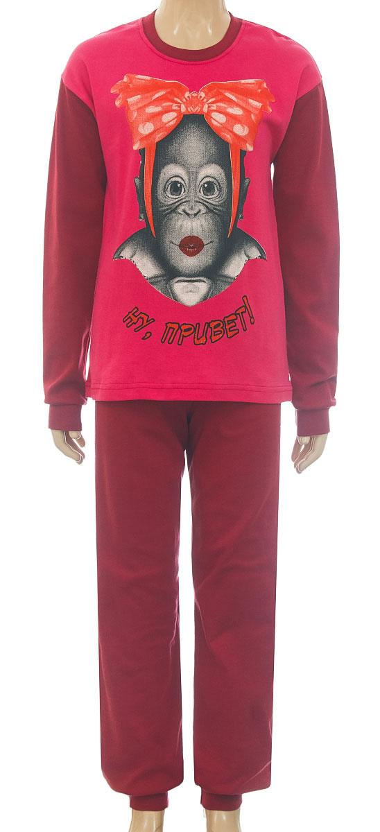 Пижама для девочки M&D, цвет: фуксия, вишневый. 18041П06-310. Размер 14018041П06-310Уютная пижама для девочки M&D выполнена из натурального хлопка. В комплект входит футболка с длинными рукавами и брюки. Футболка с длинными рукавами и круглым вырезом горловины оформлена спереди милым принтом. Брюки имеют эластичный пояс. Низ рукавов, низ брюк и вырез горловины дополнены трикотажные резинками.
