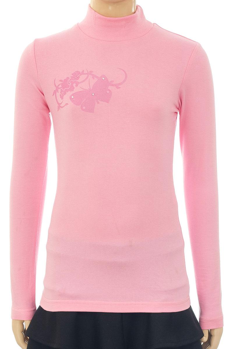 Водолазка для девочки M&D, цвет: розовый. WJO26060B-5. Размер 158WJO26060B-5/WJO26060A-5Водолазка для девочки M&D выполнена из хлопка и лайкры. Модель с длинными рукавами оформлена оригинальным принтом.