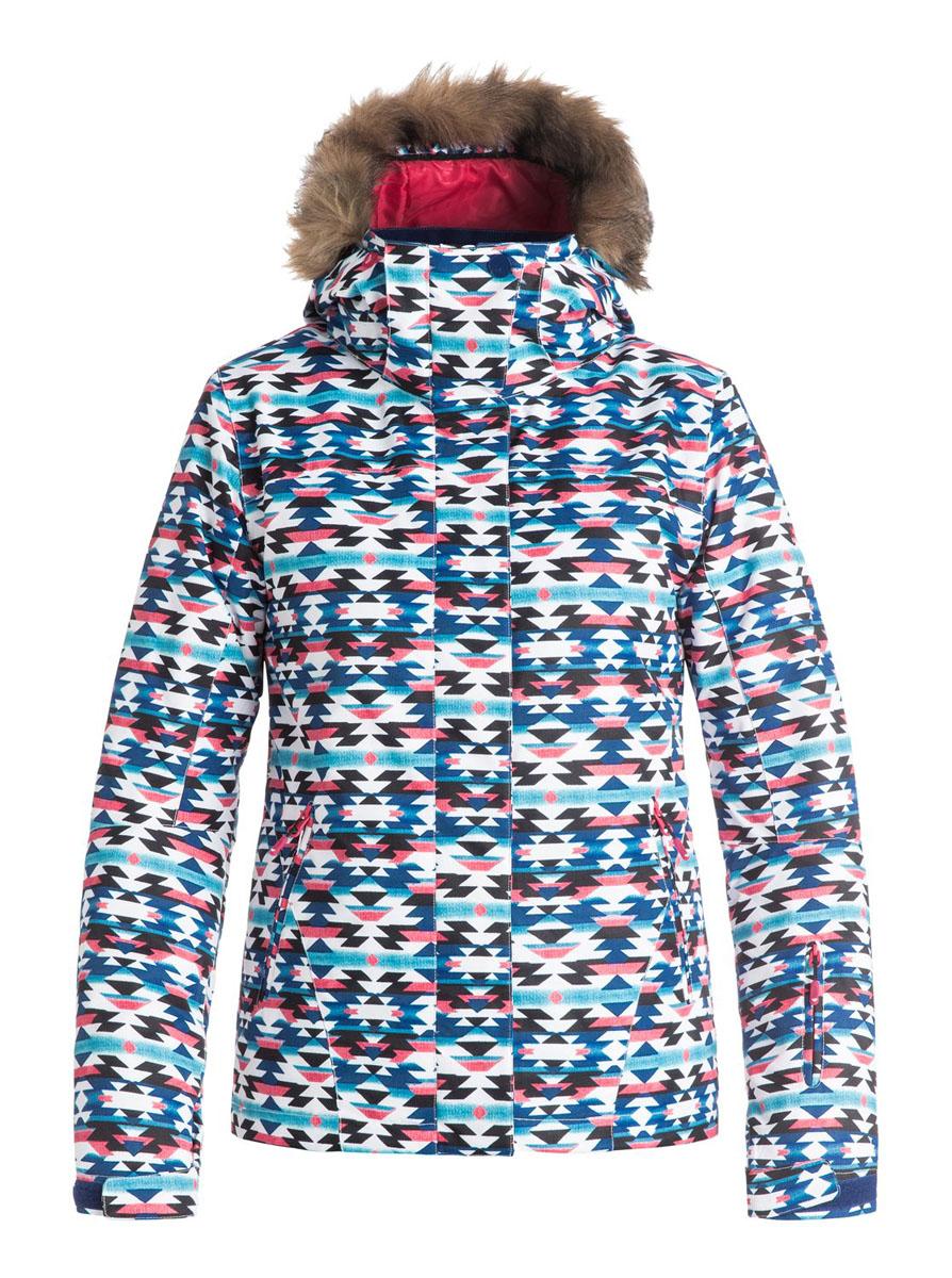 Куртка для сноуборда женская Roxy Jet Ski, цвет: синий, мультиколор. ERJTJ03053-BSQ9. Размер XS (40/42)ERJTJ03053-BSQ9Женская куртка для сноуборда выполнена из полиэстера с утеплителем Warmflight (тело 120 г, рукава 100 г, капюшон 60 г). Подкладка из тафты со вставками из трикотажа с начесом. Критические швы проклеены. Съемный капюшон регулируется тремя способами.Съемная оторочка капюшона из искусственного меха.Фиксированная противоснежная юбка из тафты с удобными кнопками.Система пристегивания куртки к штанам.Подкладка в районе подбородка.Куртка дополнена внутренним медиакарманом, внутренним карманом для маски, брелоком для ключей.Лайкровые гейтеры в рукавах.Кармашек для скипасса на рукаве.Сеточная вентиляция подмышками.Карманы с теплой подкладкой.