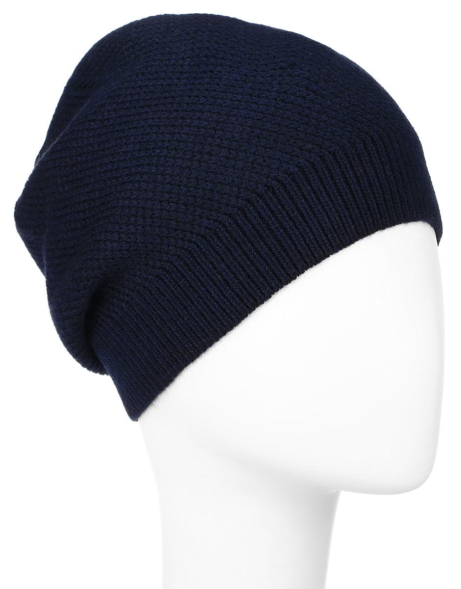 Шапка мужская Baon, цвет: темно-синий. B846511. Размер универсальныйB846511_DEEP NAVYВязаная мужская шапка Baon выполнена из высококачественной комбинированной пряжи из эластичного акрила и теплой шерсти, что позволяет ей великолепно сохранять тепло и обеспечивает высокую эластичность и удобство посадки. Низ модели связан резинкой. Оформлена шапка кожаным лейблом с логотипом бренда.
