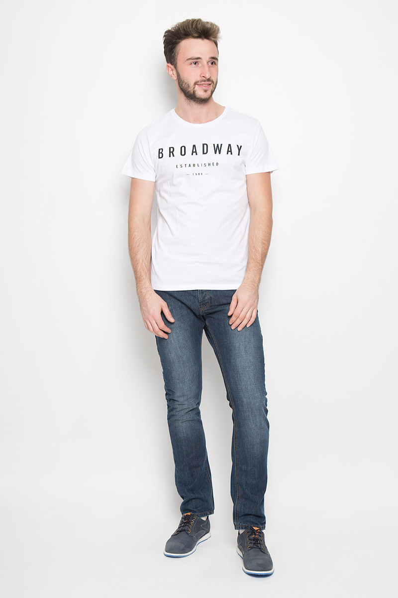 Футболка мужская Broadway, цвет: белый. 20100500. Размер S (46) broadway broadway 10149852 02 топ белый белый 46