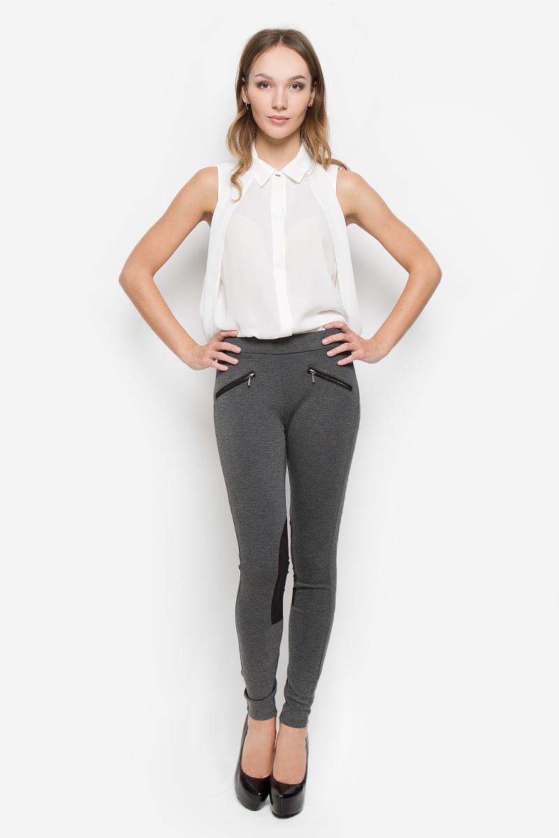 Брюки женские Broadway Cara, цвет: серый. 10156623. Размер XL (50)10156623_833Стильные женские брюки Broadway Cara стандартной посадки выполнены из эластичного высококачественного материала, что обеспечивает комфорт и удобство при носке. Изделие дополнено стильными вставками из полиэстера. Брюки имеют эластичную резинку в поясе, оформлены спереди двумя карманами-обманками на змейках.