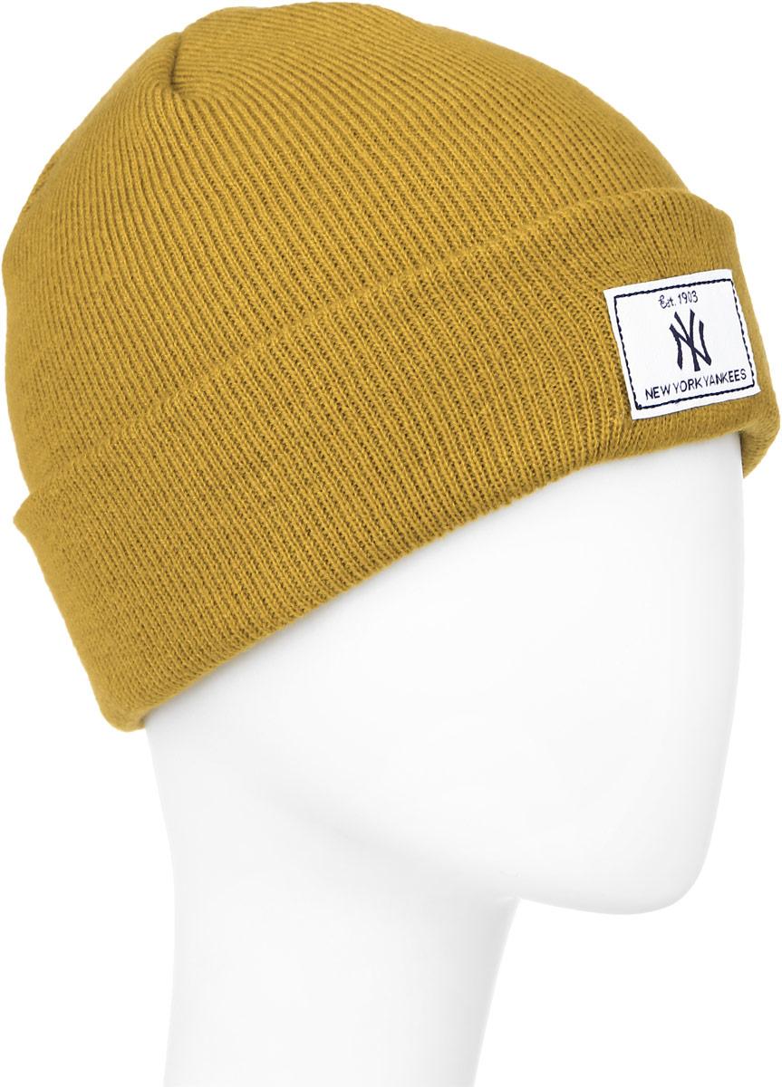 Шапка New Era Rectangle Patch Knit, цвет: горчичный. 11280732. Размер 54/5511280732-MUS
