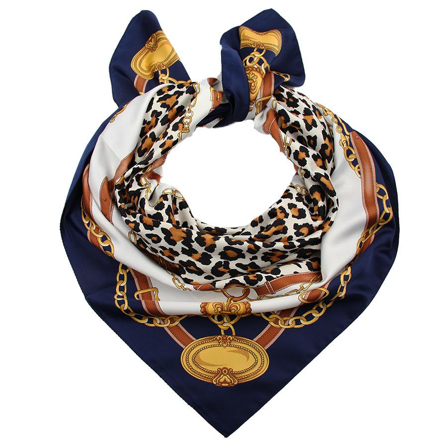 Платок женский Venera, цвет: темно-синий, горчичный, белый. 3907833-1. Размер 90 см х 90 см3907833-1Стильный женский платок Venera изготовлен из 100% полиэстера и оформлен оригинальным принтом с изображением ремней.Классическая квадратная форма позволяет носить платок на шее, украшать им прическу или декорировать сумочку.Такой платок превосходно дополнит любой наряд и подчеркнет ваш неповторимый вкус и элегантность.