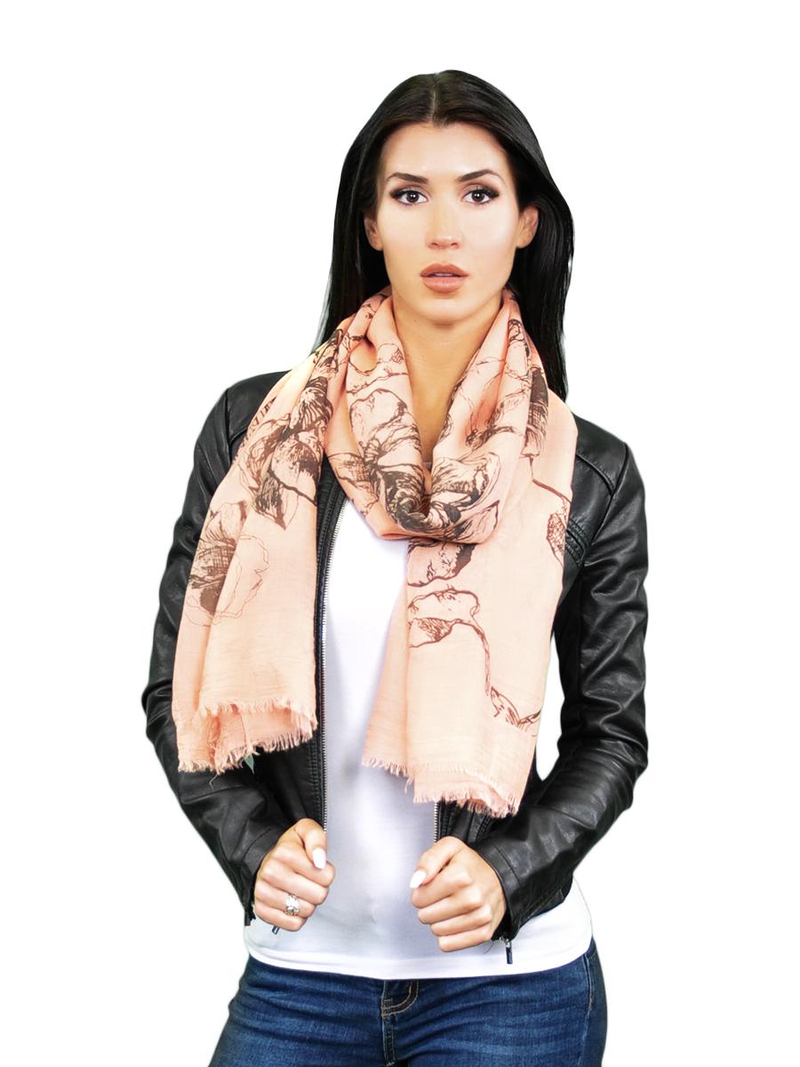 Палантин женский Venera, цвет: персиковый, темно-коричневый. 2716801-4. Размер 90 см х 180 см2716801-4Элегантный палантин Venera согреет вас в прохладную погоду и станет достойным завершением вашего образа.Палантин изготовлен из шерсти с добавлением вискозы и оформлен цветочным принтом. Такой палантин отлично держит форму и красиво драпируется, а как же превосходно дополнит любой ваш наряд и подчеркнет изысканный вкус.