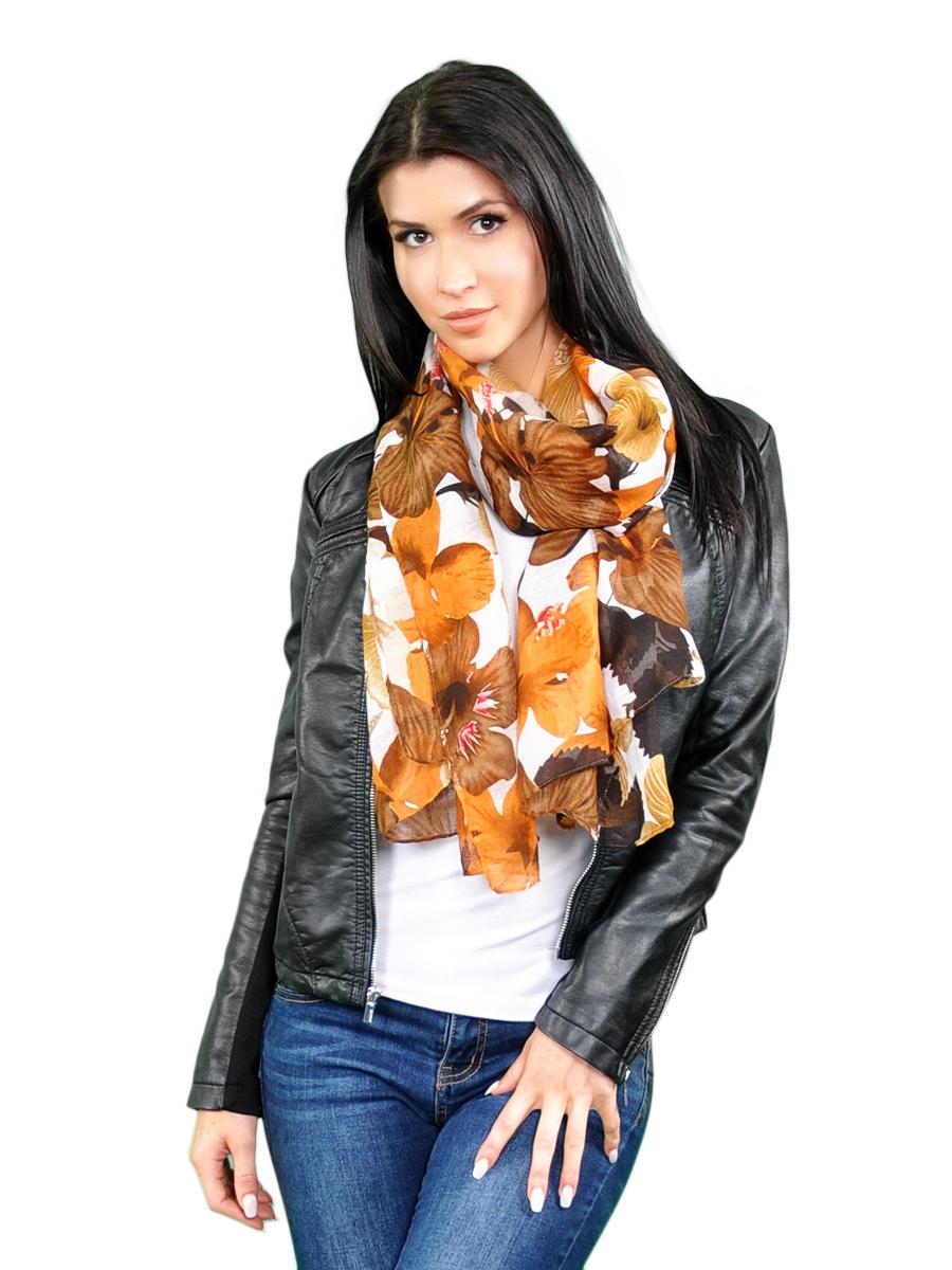 Палантин женский Venera, цвет: белый, рыжий, коричневый. 2716501-3. Размер 90 см х 180 см2716501-3Элегантный палантин Venera согреет вас в прохладную погоду и станет достойным завершением вашего образа.Палантин изготовлен из вискозы с добавлением шерсти и оформлен ярким цветочным принтом. Такой палантин красиво драпируется, а так же превосходно дополнит любой ваш наряд и подчеркнет изысканный вкус.