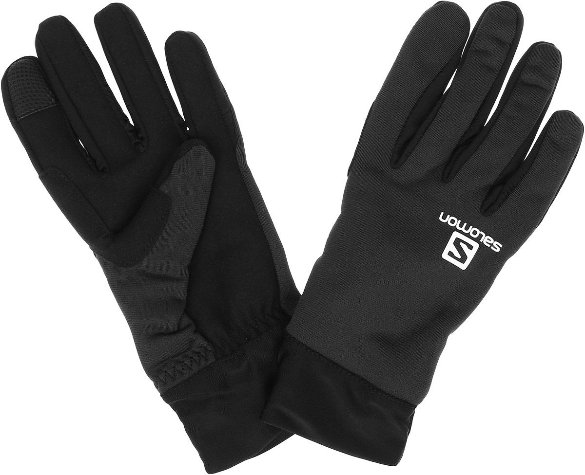 Перчатки женские Salomon Discovery Glove W, цвет: черный, графитовый. L39011800. Размер S (7)L39011800Стильные мужские перчатки Salomon Active Glove U выполнены из высококачественных эластичных материалов и предназначены для занятий активными видами спорта и для носки в городе в холодную погоду.Модель оформлена логотипом и надписью бренда. Перчатки дополнены возможностью пользоваться тачскрином.