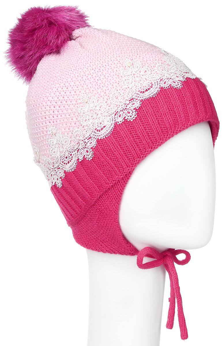 Шапка для девочки Nota Bene, цвет: светло-розовый, фуксия. AW15008-304. Размер M (52/54)AW15008-304Вязаная шапка для девочки Nota Bene выполнена из высококачественной комбинированной пряжи из акрила с добавлением шерсти. Наполнитель изготовлен из полиэстера, подкладка изделия выполнена из натурального хлопка. Модель дополнена небольшими ушками с завязками. Шапка украшена одним помпоном на макушке, кружевным гипюром и жемчужными бусинами. Уважаемые клиенты! Обращаем ваше внимание на тот факт, что размер, доступный для заказа, является обхватом головы.