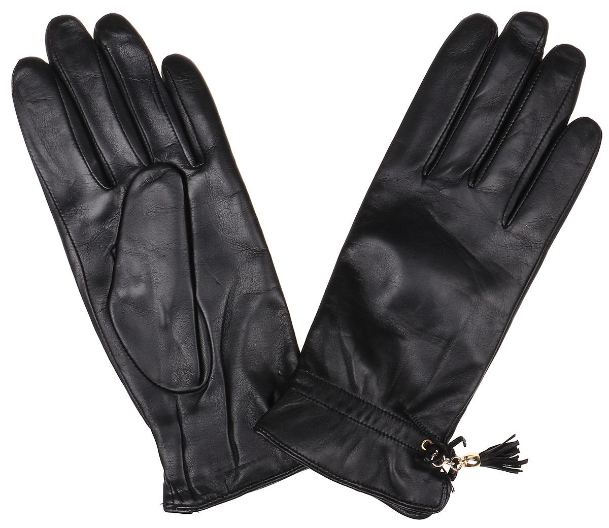 Перчатки женские Fabretti, цвет: черный. 12.37-1. Размер 712.37-1 blackЭлегантные женские перчатки Fabretti станут великолепным дополнением вашего образа и защитят ваши руки от холода и ветра во время прогулок. Перчатки выполнены из натуральной кожи ягненка, подкладка - из шерсти и кашемира. Модель декорирована оригинальным бантиком и кожаной кисточкой. Такие перчатки будут оригинальным завершающим штрихом в создании современного модного образа, они подчеркнут ваш изысканный вкус и станут незаменимым и практичным аксессуаром.