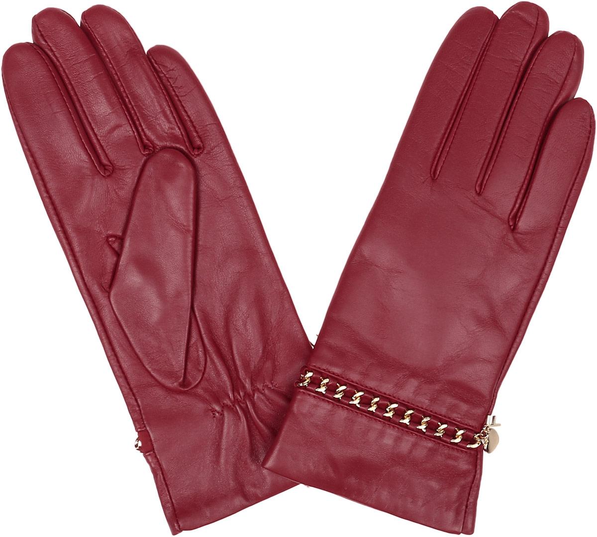 Перчатки женские Fabretti, цвет: красный. 9.87-7. Размер 6,59.87-7 redСтильные женские перчатки Fabretti не только защитят ваши руки, но и станут великолепным украшением. Перчатки выполнены из натуральной кожи ягненка, а их подкладка - из высококачественной шерсти с добавлением кашемира.Модель оформлена металлическими звеньями и дополнена на запястье оригинальными строчками-стежками. Стильный аксессуар для повседневного образа.