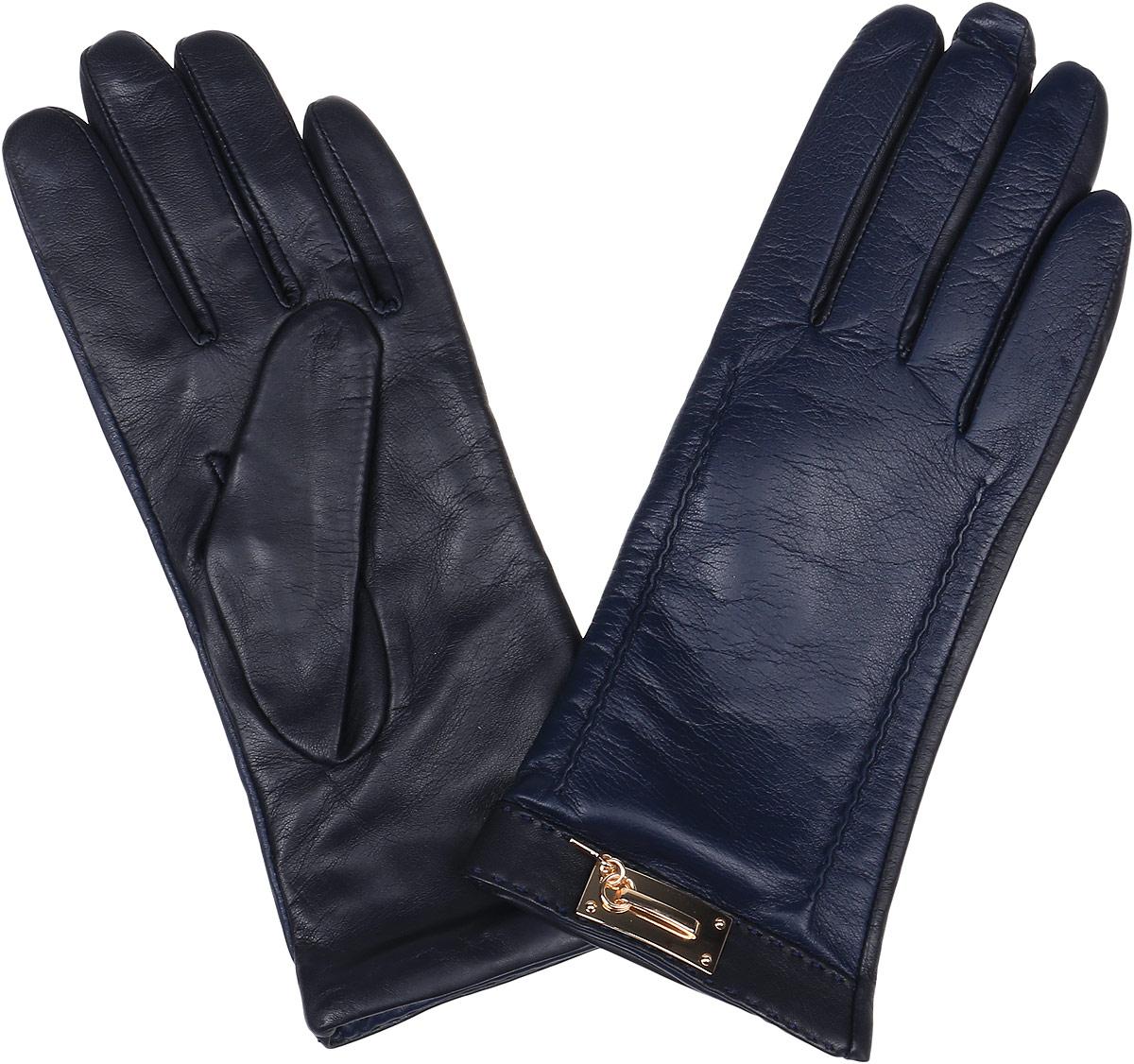 Перчатки женские Fabretti, цвет: черный, темно-синий. 9.73-11. Размер 7,59.73-11 blueСтильные женские перчатки Fabretti не только защитят ваши руки, но и станут великолепным украшением. Перчатки выполнены из натуральной кожи ягненка, а их подкладка - из высококачественной шерсти с добавлением кашемира.Модель оформлена оригинальными строчками-стежками и металлической пластиной, дополненной ключиком.Стильный аксессуар для повседневного образа.