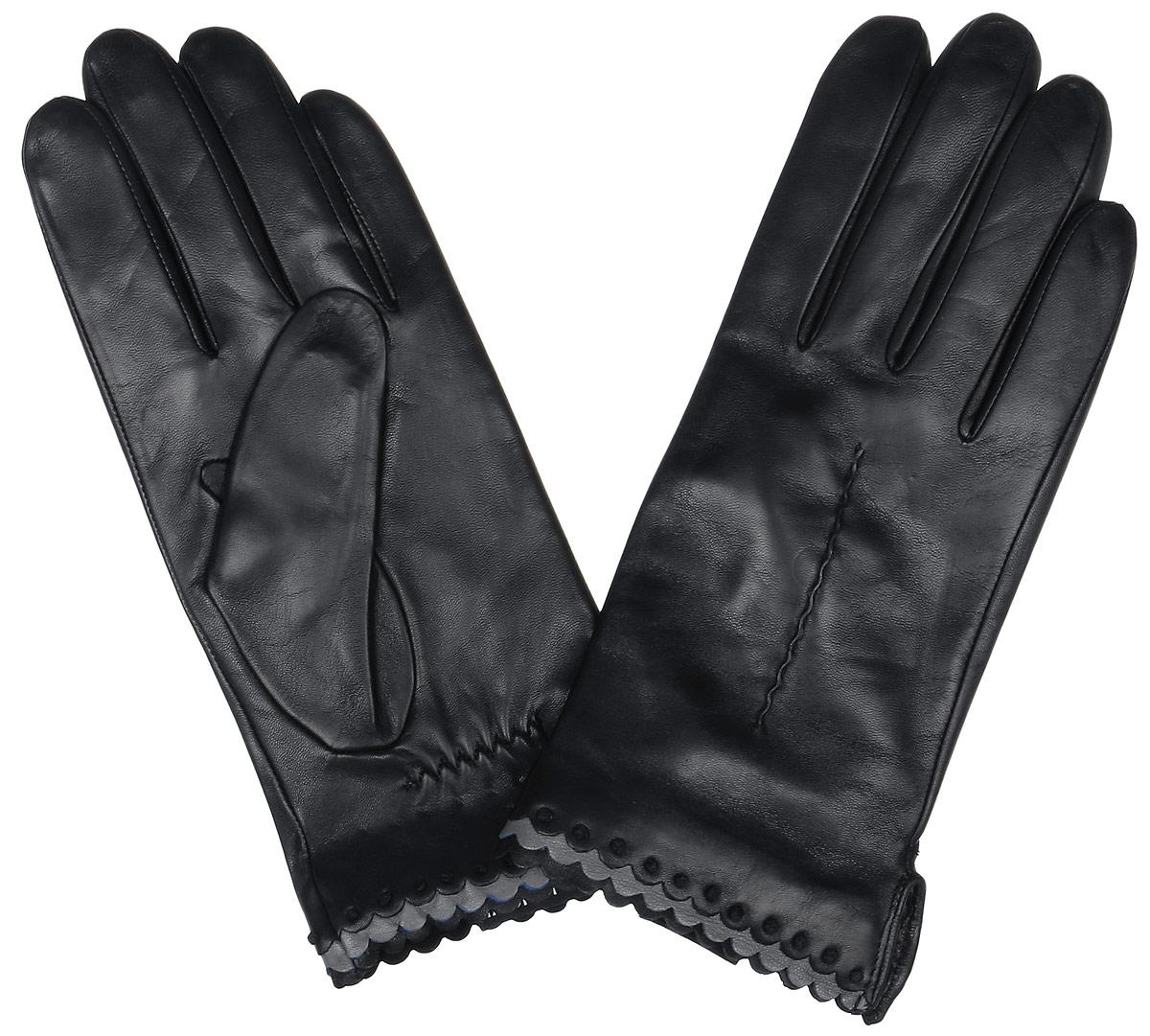 Перчатки женские Fabretti, цвет: черный. 2.80-1. Размер 6,52.80-1 blackСтильные женские перчатки Fabretti не только защитят ваши руки, но и станут великолепным украшением. Перчатки выполнены из натуральной кожи ягненка, а их подкладка - из высококачественной шерсти с добавлением кашемира.Модель оформлена оригинальной каймой и строчками-стежками на запястье.Стильный аксессуар для повседневного образа.