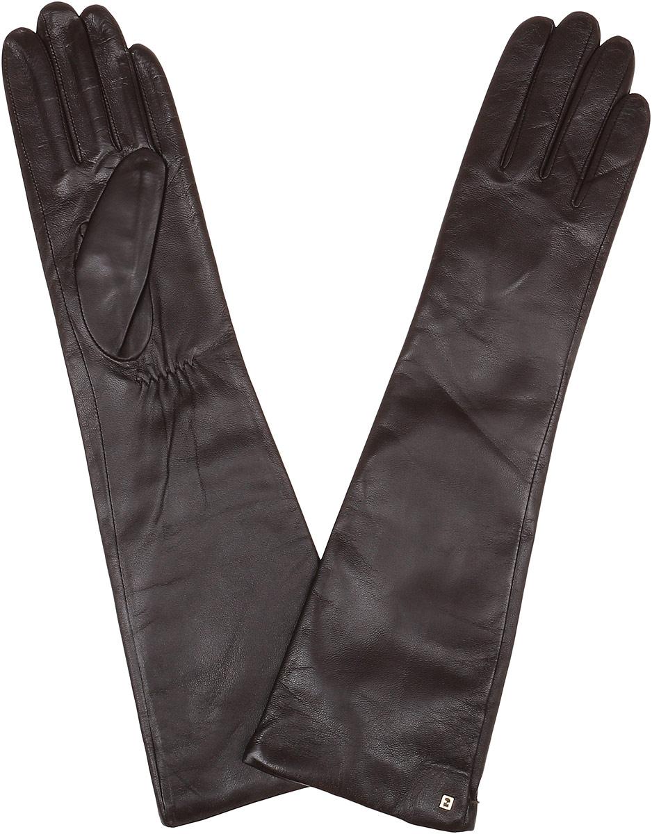 Перчатки женские Fabretti, цвет: коричневый. 12.5-2. Размер 6,512.5-2_chocolatЭлегантные удлиненные женские перчатки Fabretti станут великолепным дополнением вашего образа и защитят ваши руки от холода и ветра во время прогулок. Перчатки выполнены из натуральной кожи ягненка. Модель декорирована небольшой металлической пластиной с логотипом бренда. Такие перчатки будут оригинальным завершающим штрихом в создании современного модного образа, они подчеркнут ваш изысканный вкус и станут незаменимым и практичным аксессуаром.