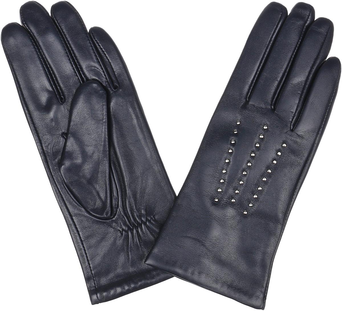Перчатки женские Fabretti, цвет: темно-синий. 15.1-12. Размер 715.1-12_navyСтильные женские перчатки Fabretti не только защитят ваши руки, но и станут великолепным украшением. Перчатки выполнены из натуральной кожи ягненка, а их подкладка - из высококачественной шерсти с добавлением кашемира.Модель оформлена оригинальными металлическими клепками и дополнена строчками -стежками на запястье.Стильный аксессуар для повседневного образа.