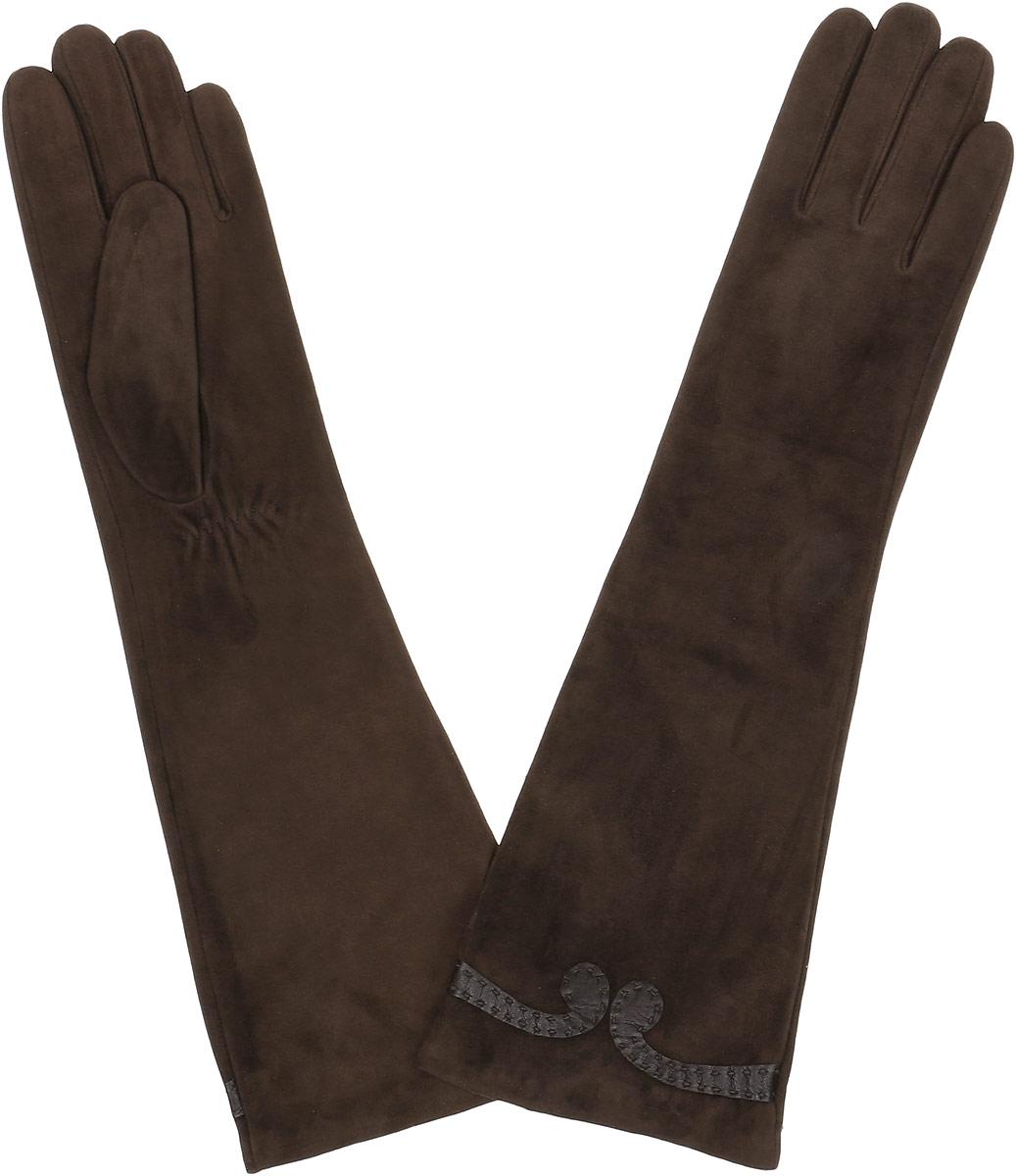 Перчатки женские Fabretti, цвет: шоколадный. 2.84-2. Размер 72.84-2 chocolateЭлегантные удлиненные женские перчатки Fabretti станут великолепным дополнением вашего образа и защитят ваши руки от холода и ветра во время прогулок. Перчатки выполнены из натуральной кожи ягненка. Модель декорирована небольшим узором из кожи. Такие перчатки будут оригинальным завершающим штрихом в создании современного модного образа, они подчеркнут ваш изысканный вкус и станут незаменимым и практичным аксессуаром.