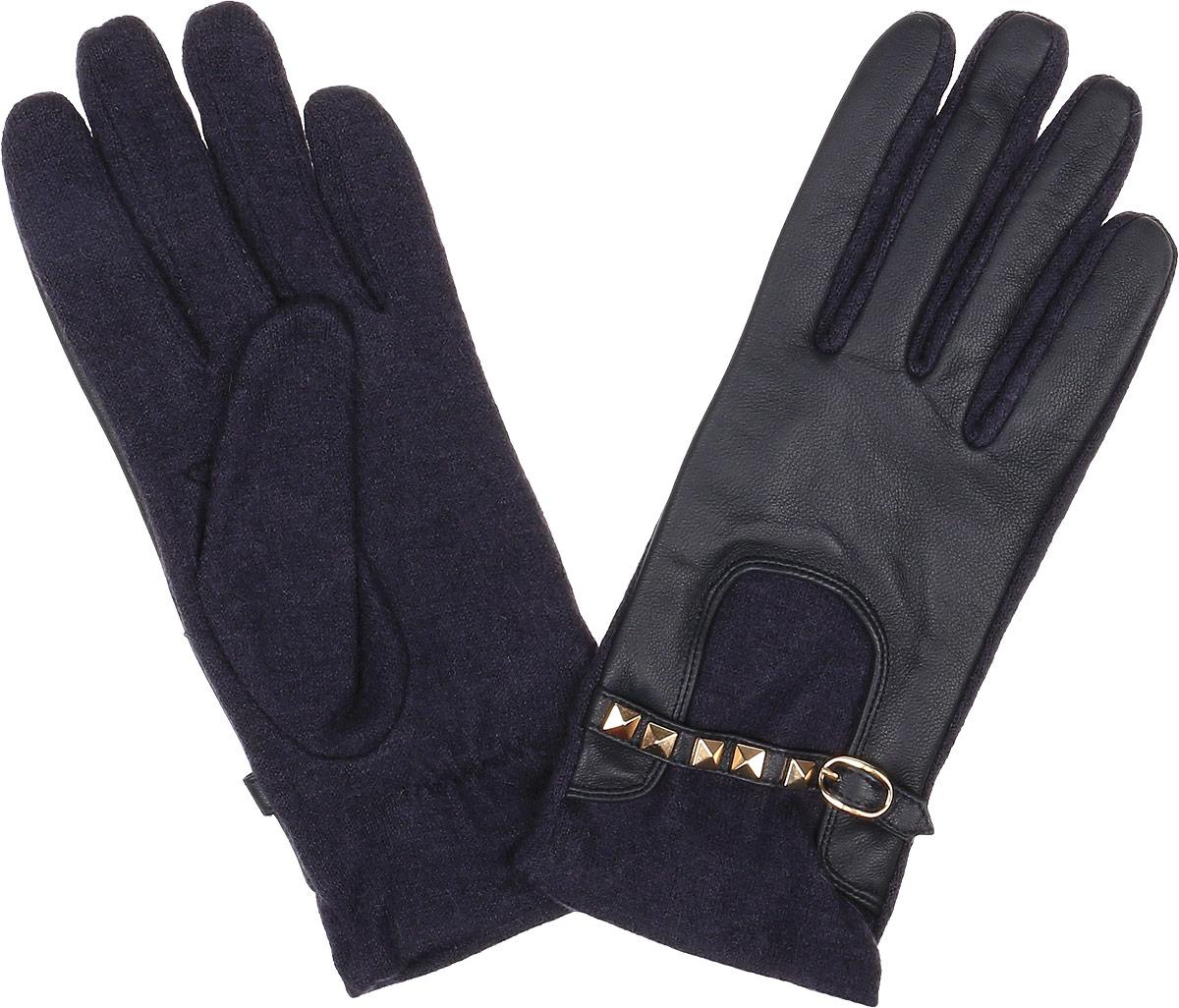 Перчатки женские Fabretti, цвет: темно-синий, фиолетовый. 41032. Размер M (6,5/7)3.5-12 navyСтильные женские перчатки Fabretti не только защитят ваши руки, но и станут великолепным украшением. Перчатки выполнены из натуральной кожи ягненка и высококачественной шерсти.Модель оформлена декоративным хлястиком с застежкой и металлическими заклепками. Перчатки имеют строчки-стежки на запястье, которые придают большее удобство при носке.Стильный аксессуар для повседневного образа.