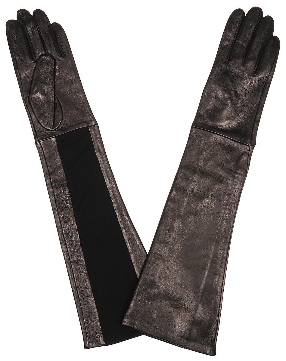 Перчатки женские Fabretti, цвет: серо-золотой. 2.81-1s. Размер 6,52.81-1s blackЭлегантные удлиненные женские перчатки Fabretti станут великолепным дополнением вашего образа и защитят ваши руки от холода и ветра во время прогулок. Перчатки выполнены из натуральной кожи ягненка. Модель декорирована оригинальной трикотажной вставкой. Такие перчатки будут оригинальным завершающим штрихом в создании современного модного образа, они подчеркнут ваш изысканный вкус и станут незаменимым и практичным аксессуаром.