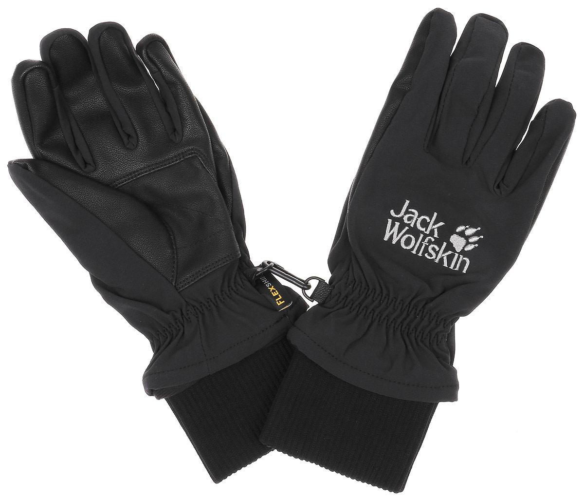 Перчатки Jack Wolfskin Flexshield Basic Glove, цвет: черный. 1906021-6000. Размер L (23,5-25,5)1906021-6000Теплые, хорошо дышащие мужские перчатки Wolfskin Flexshield Basic Glove сохранят тепло и комфорт при ветре и в зимнюю непогоду. Модель выполнена из материала FLEXSHIELD BASIC GLOVE - софтшелл для холодного времени года. Они обладают водостойкими и непродуваемыми свойствами и особенно хорошо дышат, чтобы ваши руки оставались на улице сухими и теплыми. Перчатки изготовлены из биэластичного материала, поэтому они повторяют все ваши движения и подойдут для любого активного похода.Внутренняя сторона модели выполнена из теплой подкладки с функцией регулирования влажности, обеспечивающую дополнительное тепло. Дополнена модель фирменной нашивкой с названием бренда.