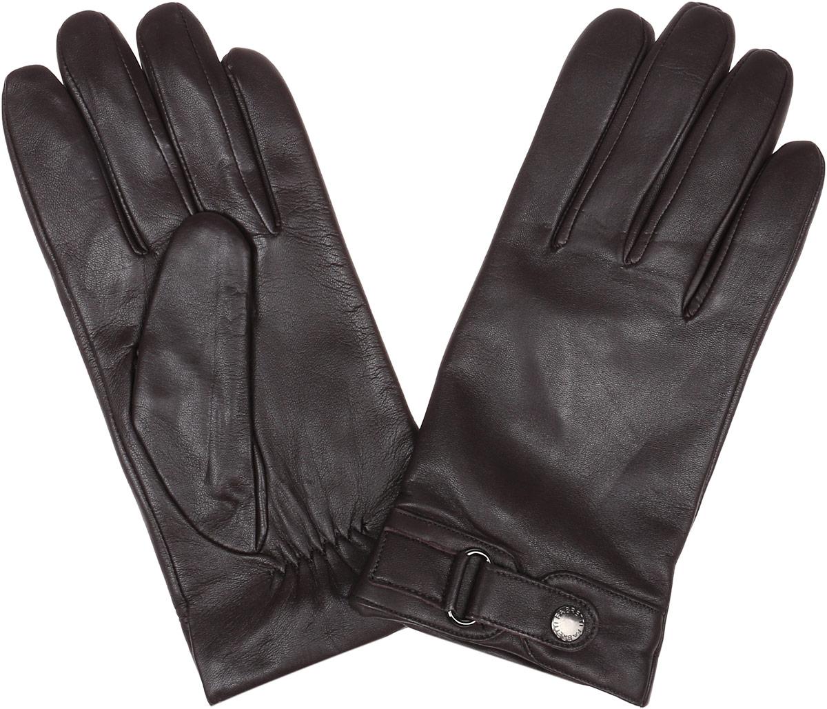 Перчатки мужские Fabretti, цвет: темно-коричневый. 12.51-2. Размер 8,512.51-2 chocolateСтильные мужские перчатки Fabretti не только защитят ваши руки, но и станут великолепным украшением. Перчатки выполнены из натуральной кожи ягненка, а их подкладка - из высококачественной шерсти с добавлением кашемира.Модель дополнена декоративным хлястиком на кнопке. Перчатки имеют строчки-стежки на запястье, которые придают большее удобство при носке.Стильный аксессуар для повседневного образа.