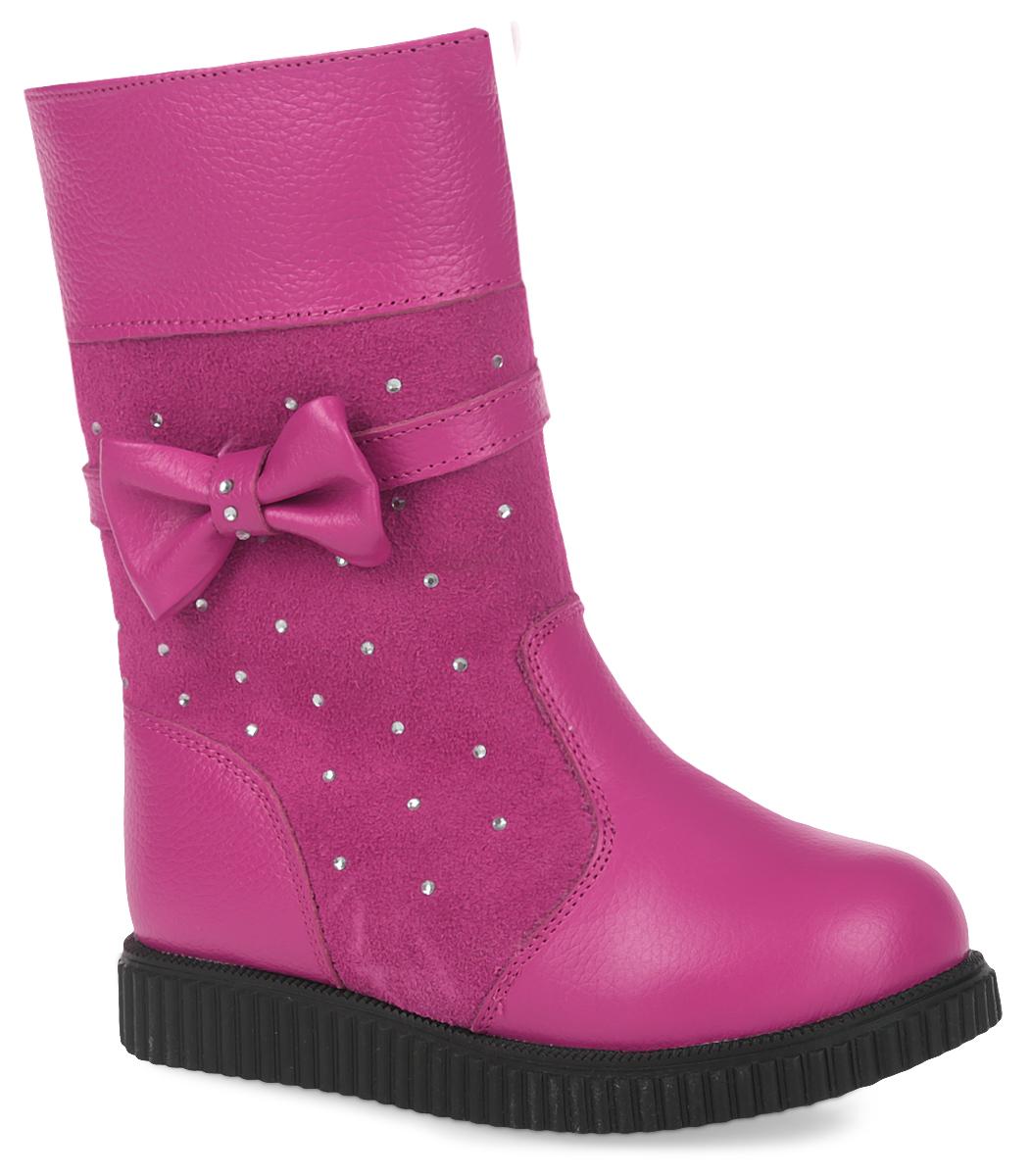 Сапоги для девочки Зебра, цвет: розовый. 11120-9. Размер 2811120-9Удобные сапоги от Зебра выполнены из натуральной кожи в сочетании с замшей. Застежка-молния надежно фиксирует изделие на ноге. Мягкая подкладка и стелька из шерсти обеспечивают тепло, циркуляцию воздуха и сохраняют комфортный микроклимат в обуви. Сбоку модель оформлена декоративным бантиком и стразами.