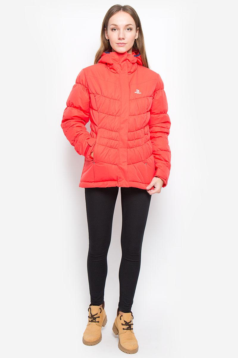 Куртка женская Salomon Stormpulse Jkt W, цвет: красный. L38263200. Размер XL (52/54)L38263200Легкая, теплая и универсальная женская куртка Salomon Stormpulse Jkt W с защитой от непогоды Advanced Skin Dry выполнена из полиэстера на подкладке из нейлона. Используемый в куртке утеплитель Stormloft по упругости и теплоте напоминает натуральный пух, но не теряет своих свойств при намокании, а также отлично подходит людям, которые страдают аллергией. Модель с капюшоном застегивается на молнию с ветрозащитными планками. Внешняя планка имеет застежки липучки и кнопки. Рукава дополнены хлястиками с липучками для регулировки объема. С внутренней стороны изделия имеется противоснежная юбка на резинке с застежками-кнопками. По низу куртки проходит эластичный шнурок со стопперами. Спереди расположены два прорезных кармана на молнии, с внутренней стороны находится прорезной карман с застежкой-молнией.