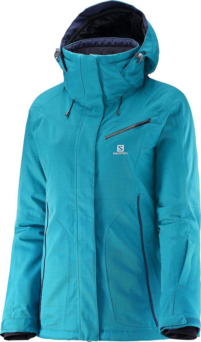 Куртка женская Salomon Fantasy Jkt W, цвет: синий. L38248800. Размер M (44/46)L38248800Дизайн куртки Salomon, вдохновленный аутдором с техническими характеристиками, которые делают её максимально комфортной для катания на лыжах в метель, как и для прогулки по заснеженным городским улицам. Новый, приталенный женственный силуэт и медиа-карман для еще большей универсальности.
