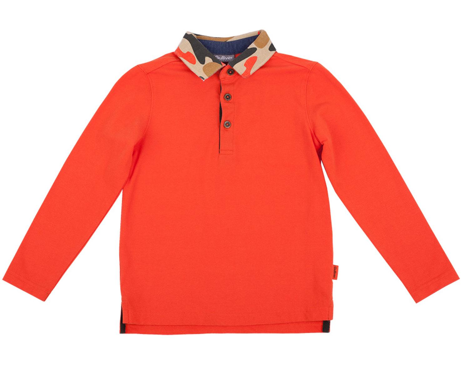 Поло с длинным рукавом для мальчика Gulliver, цвет: оранжевый. 21604BMC1401. Размер 11621604BMC1401Сочное поло с длинным рукавом сделает образ ребенка свежим и интересным! Поло выполнено в лучших традициях стиля Casual: контрастные отделки, вышивка, принт. Изюминка модели - рисунок милитари , нанесенный на трикотажный воротник. Это создает интересную цветовую и орнаментальную игру, что делает детское поло ярким и занимательным. Если вы хотите купить оригинальное поло, эта модель - то, что вы ищите! Она подарит ребенку комфорт и хорошее настроение!