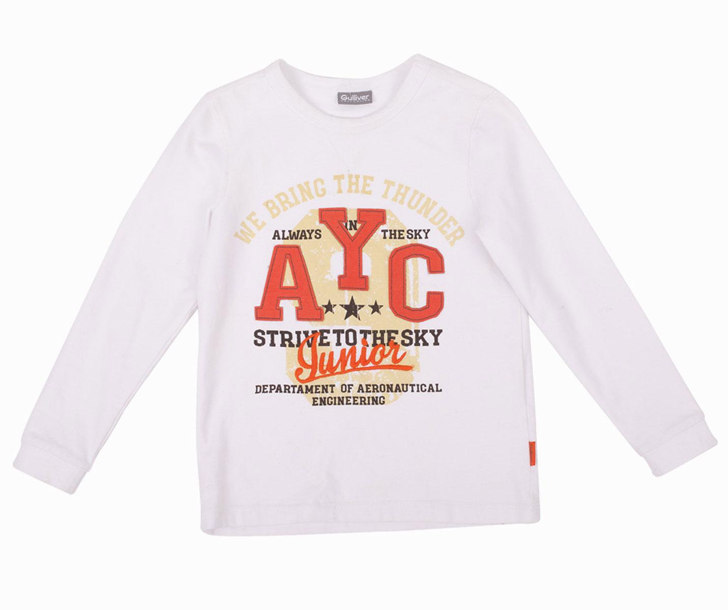 Футболка с длинным рукавом для мальчика Gulliver, цвет: белый. 21604BMC1202. Размер 11621604BMC1202Футболка с длинным рукавом для мальчика - основа повседневного гардероба! Но лишь некоторые из них становятся по-настоящему любимыми. Модная футболка с ярким выразительным принтом сделает каждый день ребенка интересным и увлекательным. Выполненная из хлопка с эластаном, футболка с надписями обладает особой мягкостью, обеспечивающей ежедневный комфорт. Вы решили купить модную белую футболку с длинным рукавом? Эта модель - то, что вам нужно!